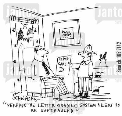 examined cartoon humor: 'Perhaps the letter grading system needs to be overhauled.'