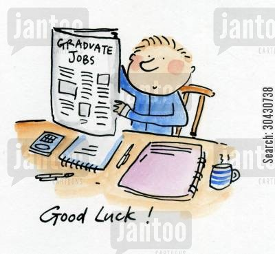 first job cartoon humor: Good Luck!