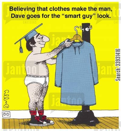 smart dress cartoon humor: Believing that clothes make the man, Dave goes for the 'smart guy' look.
