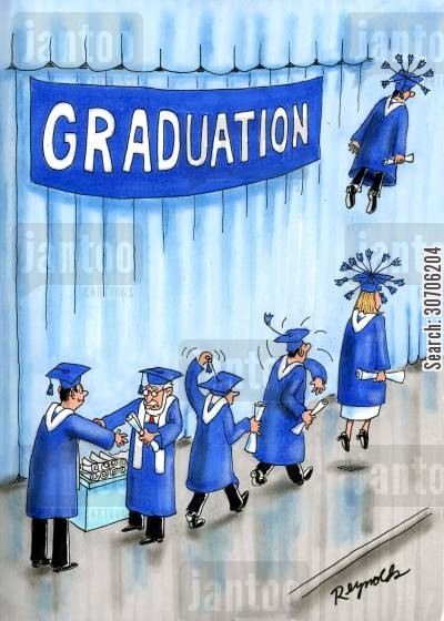 mortar boards cartoon humor: Graduates using the tassel on their mortar boards as a propeller to take flight.