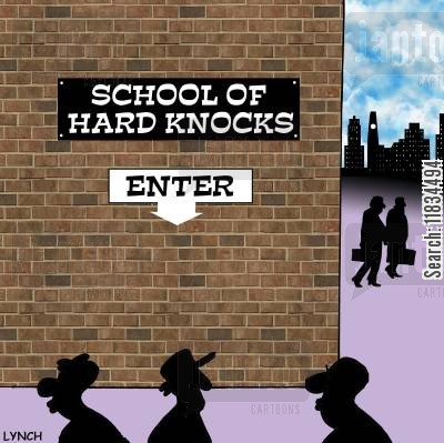rough neighborhood cartoon humor: School of Hard Knocks