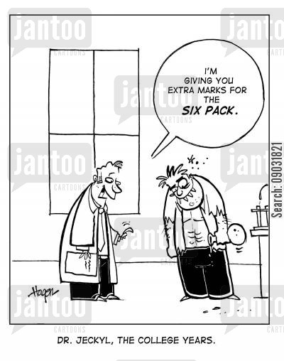 musles cartoon humor: I'm giving you extra marks for the six pack.