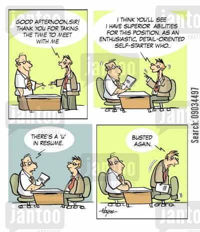 spell check cartoon humor: Job Interview Gone Bad.