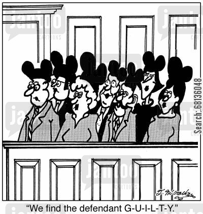 mouses cartoon humor: 'We find the defendant G-U-I-L-T-Y.'