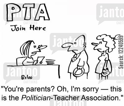 parent teacher association cartoon humor: 'You're parents? Oh, I'm sorry -- this is the Politician-Teacher Association.'