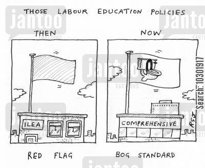 red flag cartoon humor: 'Those Labour education policies...'