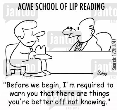teacher lip cartoon humor: 'Before we begin, I'm required to warn you that there are things you're better off not knowing.'