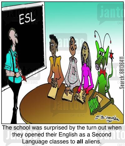second language cartoon humor: The school was surprised by the turn out when they opened their English as a Second Language classes to all aliens.