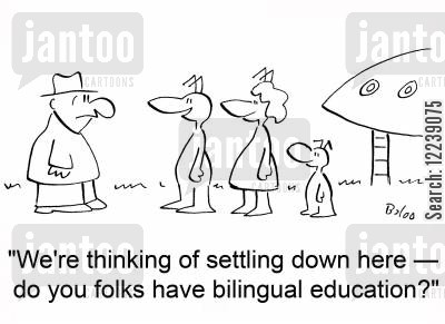settling down cartoon humor: 'We're thinking of settling down here -- do you folks have bilingual education?'