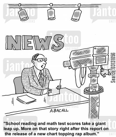 rap cartoon humor: School reading and math test scores take a giant leap up...more after this report on a new chart topping rap album.