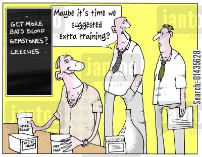 leeches cartoon humor: 'Maybe it's time we suggested extra training?'