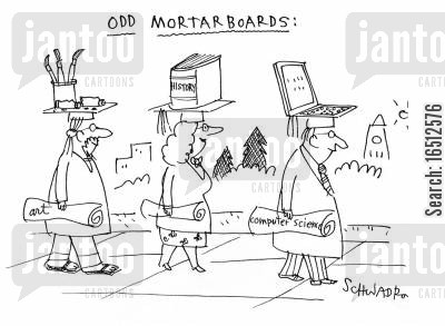 computer scientists cartoon humor: Odd Mortarboards.