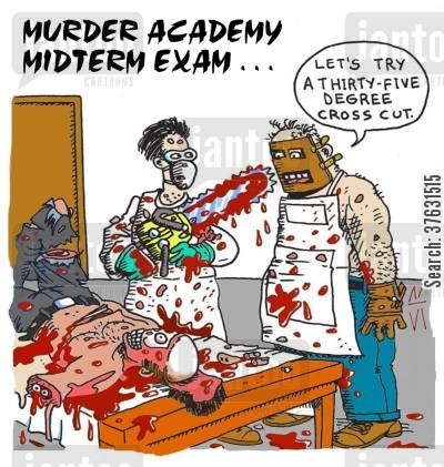 massacre cartoon humor: Murder Academy Exam.