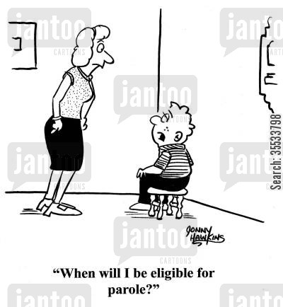 leniency cartoon humor: Kid in corner to parent: 'When will I be eligible for parole?'