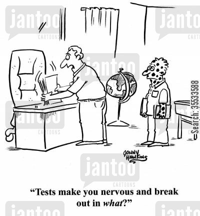 reactions cartoon humor: Teacher to student with spots: 'Tests make you nervous and break out in what?'