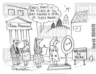 reunion cartoon humor: 'Well, that's it. The class of '64 has gained a total of 4,853 pounds.'