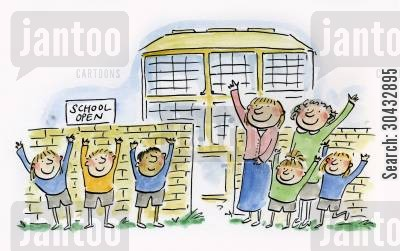 primary cartoon humor: School Open.