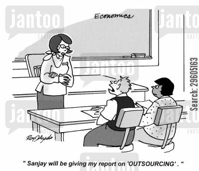 presenting cartoon humor: 'Sanjay will be giving my report on 'OUTSOURCING'.'