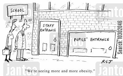 school meals cartoon humor: Obesity In Schools