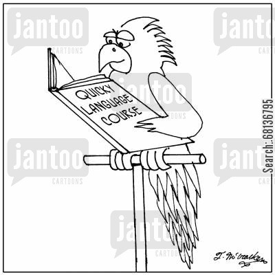 language courses cartoon humor: 'Quicky Language Course.'