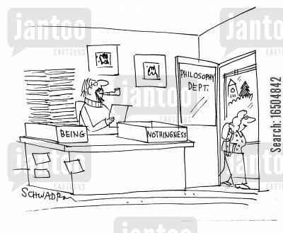 philosophy department cartoon humor: Philosophy department office with two boxes on desk - 'being' and 'nothingness'.