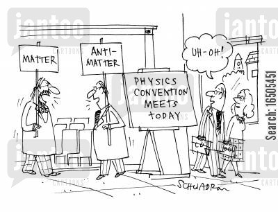physics convention cartoon humor: Matter vs. Anti-Matter