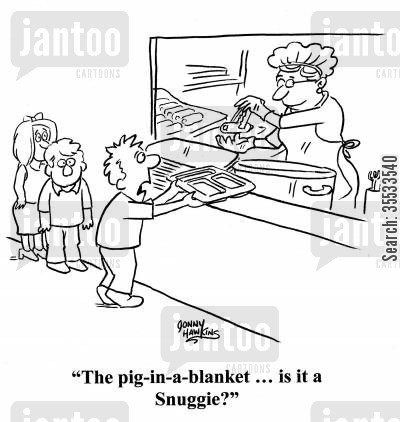 school cafeteria cartoon humor: Kid to cafeteria lady: 'The pig-in-a-blanket ,,, is it a Snuggie'