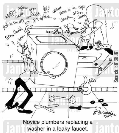 novice cartoon humor: Novice plumbers replacing a washer in a leaky faucet.