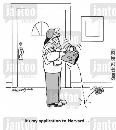 college cartoon humor: 'It's my application to Harvard...'