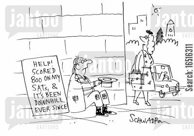 destitute cartoon humor: 'Help! Scored 800 on my SATs and it's been downhill ever since'