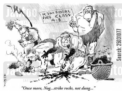 flint cartoon humor: 'Once more, Nog... strike rocks, not dung...'
