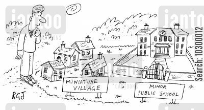 boarding school cartoon humor: Miniature Village Minor Public School