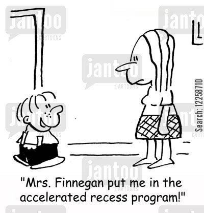 lower school cartoon humor: 'Mrs. Finnegan put me in the accelerated recess program!'