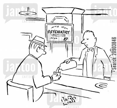 land lords cartoon humor: Barman has Psychiatry diplomadegreecertificate.