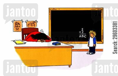 adding up cartoon humor: 2+2= ABC