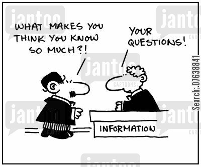 information library cartoon humor: 'What makes you think you know so much?' - 'Your questions.'