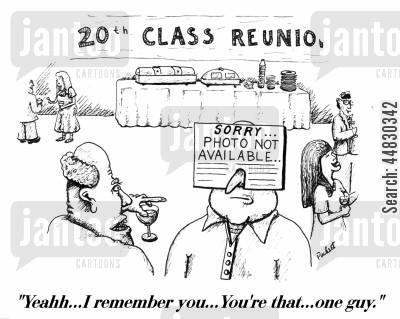 reunion cartoon humor: 'Yeahh...I remember you...You're that...one guy.'