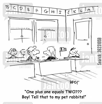 adding up cartoon humor: One plus one equals TWO??? Boy! Tell that to my pet rabbits!