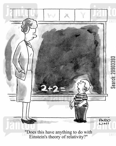 school kid cartoon humor: 'Does this have anything to do with Einstein's theory of relativity?'