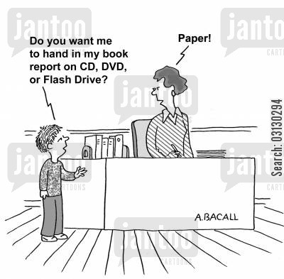 handwriting cartoon humor: How to hand in report to teacher.
