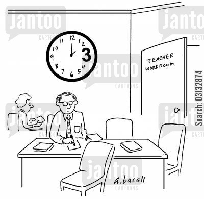 teachers room cartoon humor: Teachers' workroom has clock with large 3:00