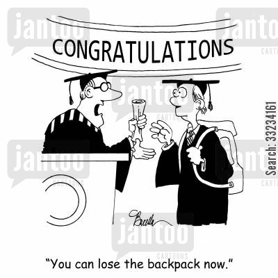 going to school cartoon humor: 'You can lose the backpack now.'
