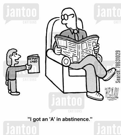 grade card cartoon humor: 'I got an 'A' in abstinence.'