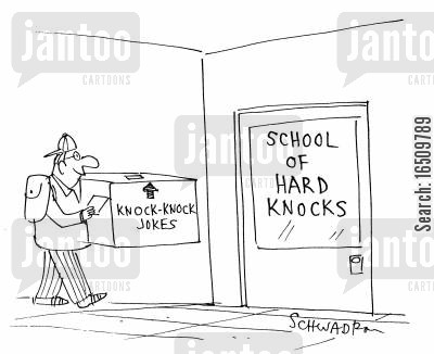knock knock jokes cartoon humor: School of Hard Knocks.