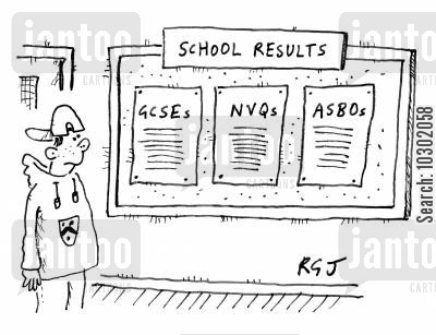 secondary schooling cartoon humor: School results.