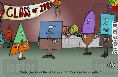 nosy cartoon humor: At the Class of 1980 shape reunion - 'OMG, look at the old square Doris ended up with!'