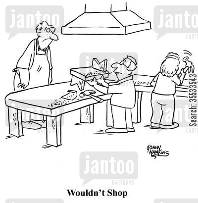 shop class cartoon humor: Kid with messed up project in Wood Shop, titled: 'Wouldn't Shop'