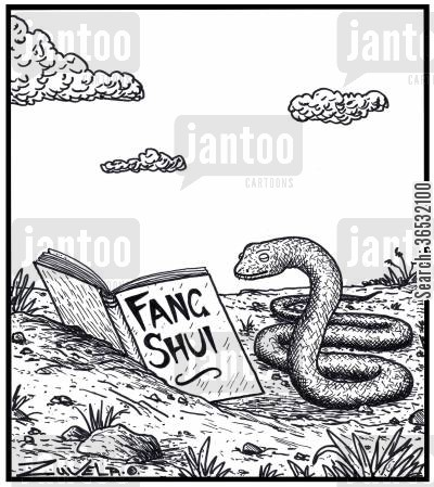 educate cartoon humor: Visual Gag: A snake reading a Fang Shui book. The snake's version of 'Feng' Shui