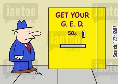 snack machines cartoon humor: GET YOUR G. E. D. 50 CENTS