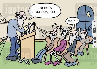 lecture hall cartoon humor: 'And in conclusion...'